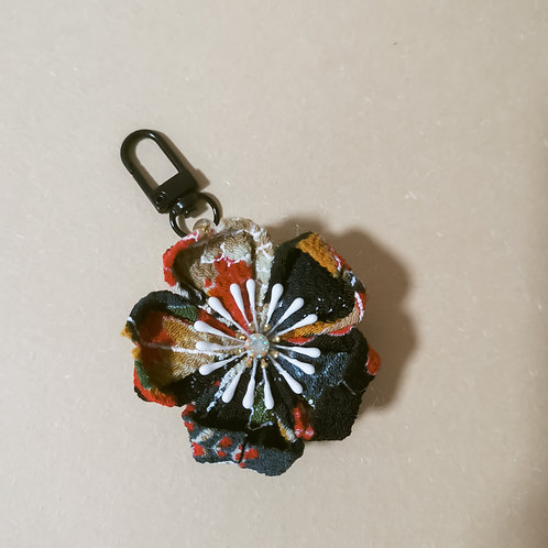 Black Kanzashi Flower Charm/Keychain