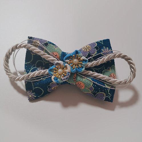Navy Flower Kanzashi Hair Clip