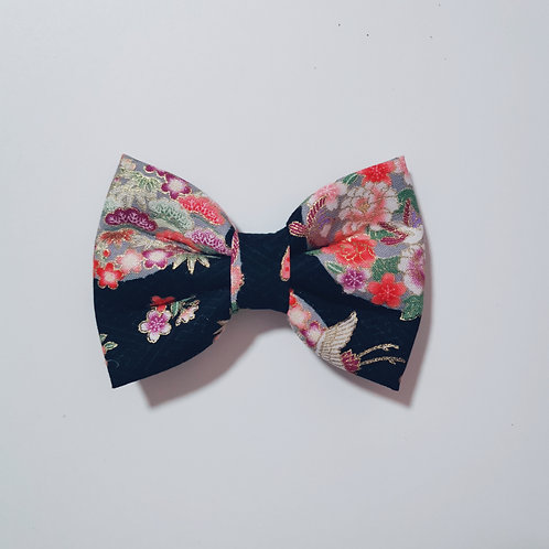 Black Floral Circle Bow Tie