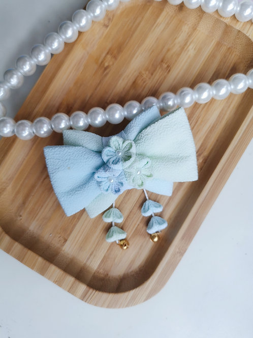 Blue and Green Watercolour Kirei Bow Tie