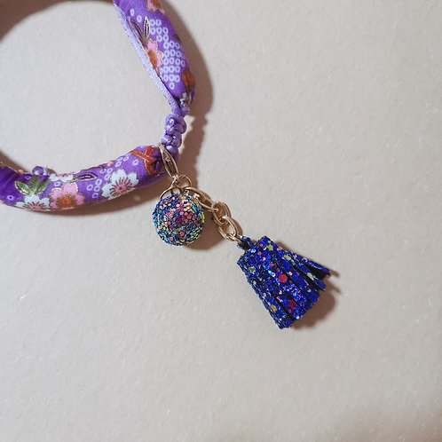 Purple Disco Ball & Tassel Charm/Keychain