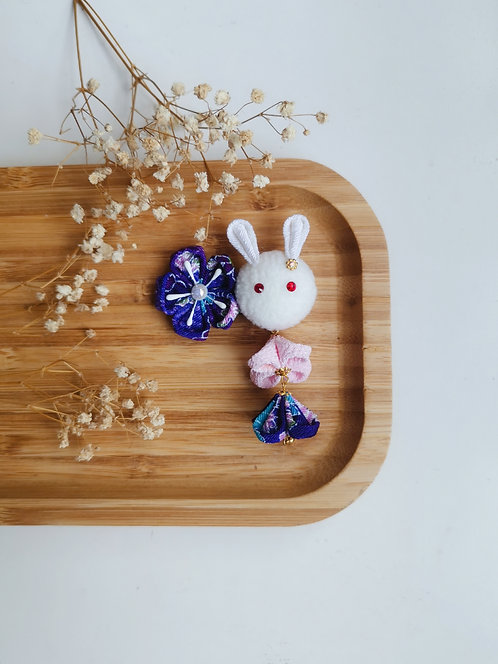 Purple and Pink Kanzashi Bunny and Bunny Charm