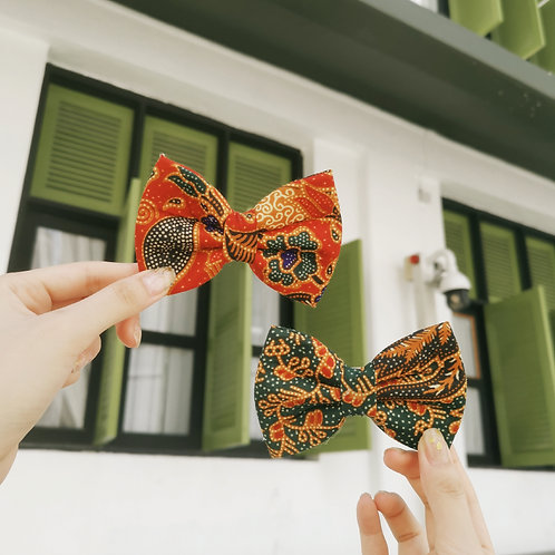 Green and Red Batik Bow Tie