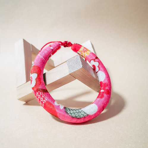 Dark Pink Floral Rope Collar