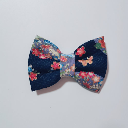 Navy Floral Circle Bow Tie