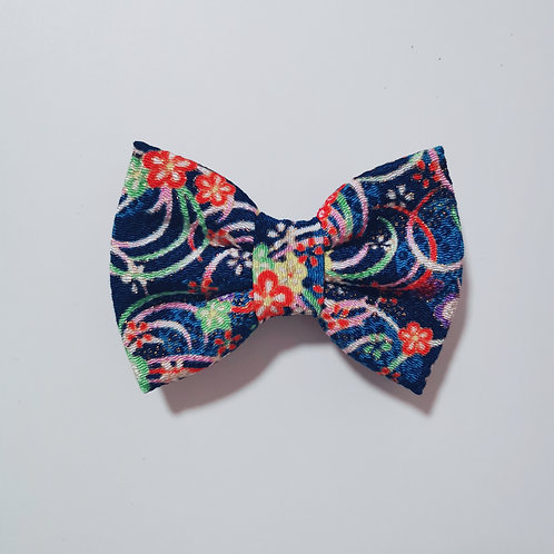 Navy Colourful Floral Bow Tie