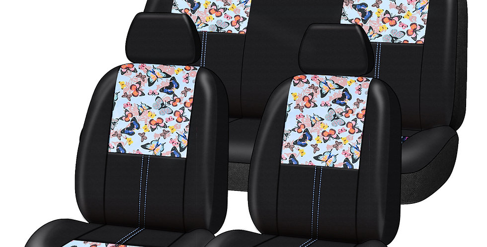 CARPASS Car Seat Cover Beautiful Butterfly 9PCS Leather Car Accessories for Girl