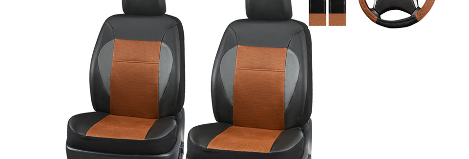 CAR PASS 7Pcs Luxurious Leather Two Front Universal Car Seat cover with steering
