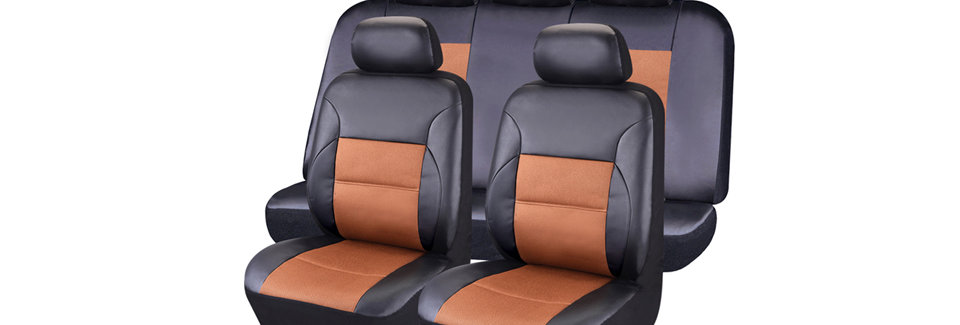 CAR PASS Luxurous Leather Sandwich Automotive Universal Seat Covers Set Package