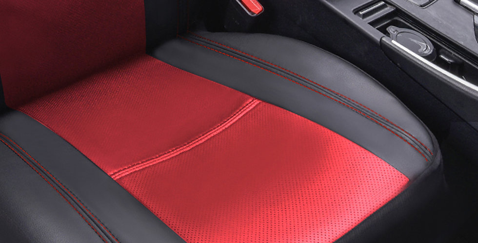 CAR PASS 1PCS Red and Black Leather Car Seat Cover for 1 Front Seat Bottom Cover