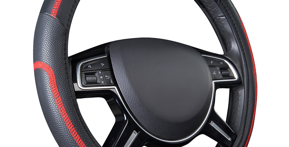 CAR PASS New Arrival Leather Red Blue Gray 38 Universal Fit Steering Wheel Cover