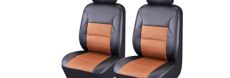 CAR PASS 6PCS Luxurious Leather Universal Two Front Car Seat Covers with Airbags