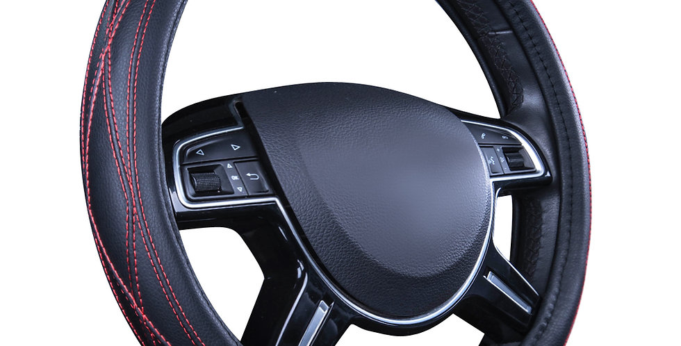 CAR PASS Delux Sideless Pu LeatherUniversal Fit Cool Driver Steering Wheel Cover