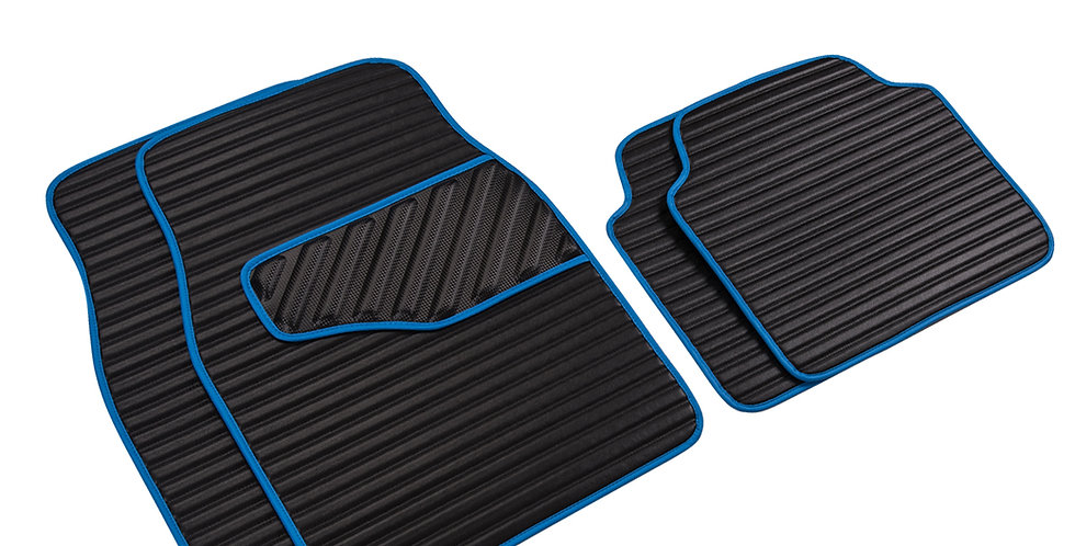 CAR PASS Car Floor Mat Black with Blue PU Leather waterproof 4PCS Fo