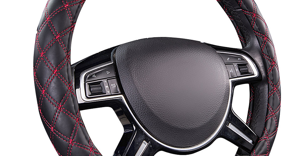 CAR PASS Quilting Leather Universal Steering Wheel Cover,Comfortable