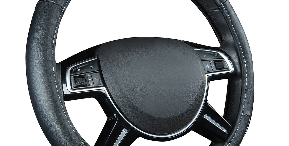 CAR PASS New Arrival Full Black Leather Anti-dust Universal Steering wheel cover