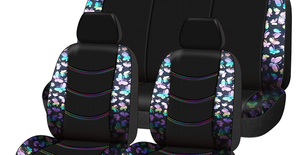 CARPASS Car Seat Cover  Bling Butterfly 9PCS Universal Car for 40/60 60/40 50/50