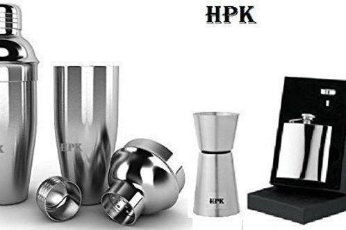 hpk cocktail shaker hip flask funnel peg meaure glass