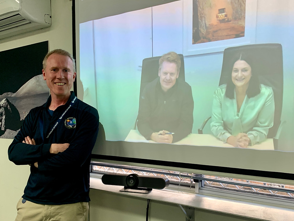 Image: Adam Gilmour, Gilmour Space CEO, joined virtually by David Flanagan (Chair) and Leanne Cunnold (CEO) of AROSE for membership signing ceremony.