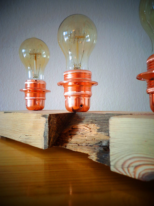 Vintage table lamp with centennial wood