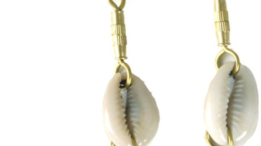 Cowrie Shell & Brass Earrings