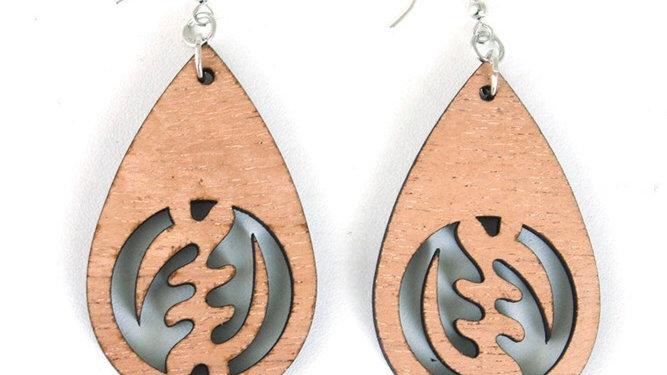Gye Nyame Wooden Teardrop earrings