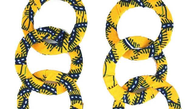 Kitenge Dangle Hoop Yellow/Blue