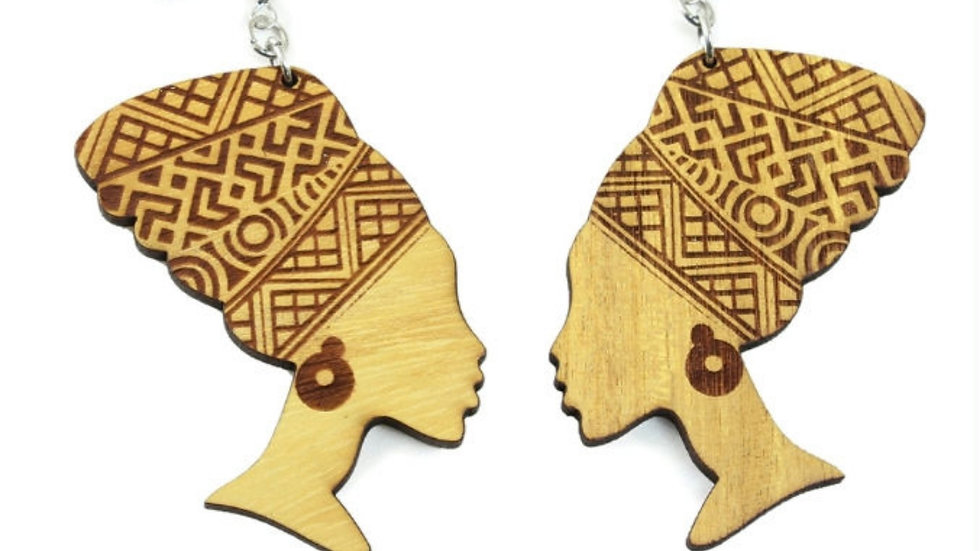 Wooden Queen Mother Earrings