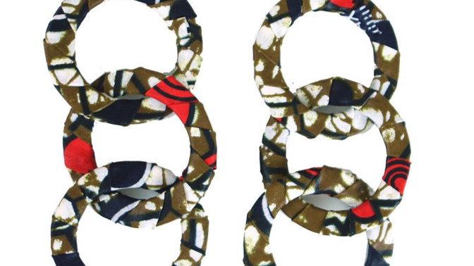 Kitenge Dangle Hoop Black/Red/Brown