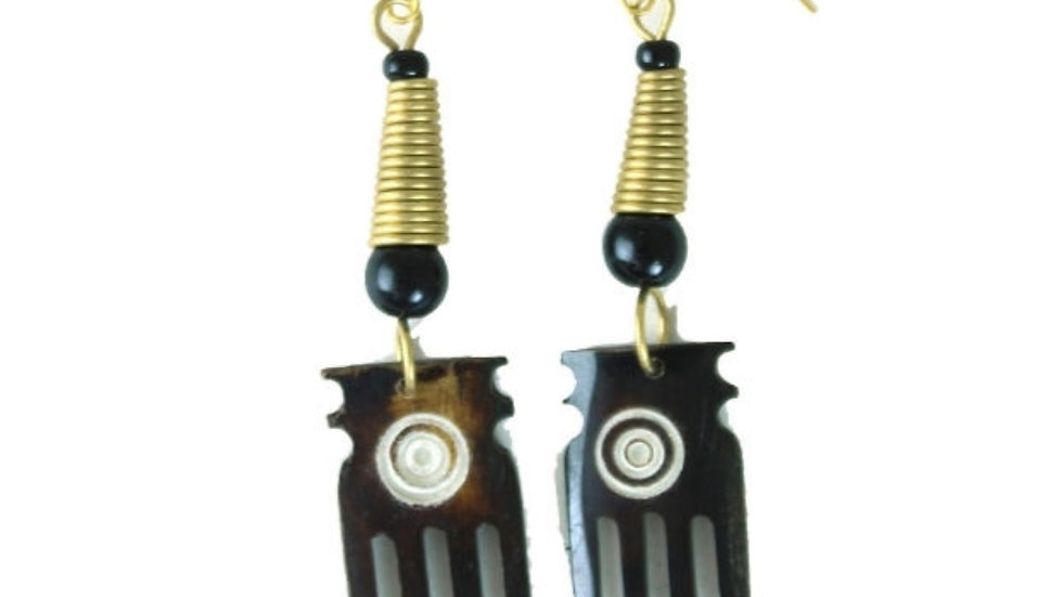 Duafe/ Brown Bone Earrings