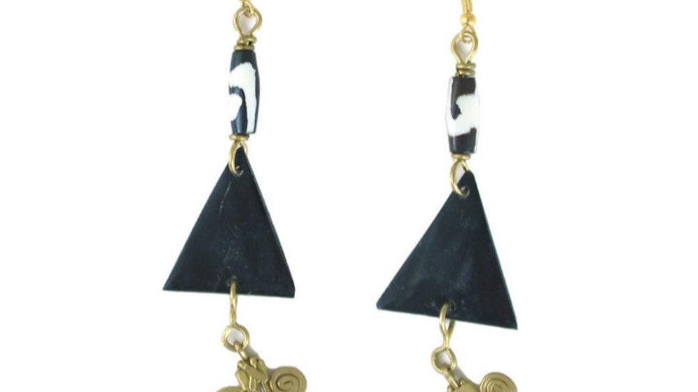 Triangle, Bone, & Brass Earrings