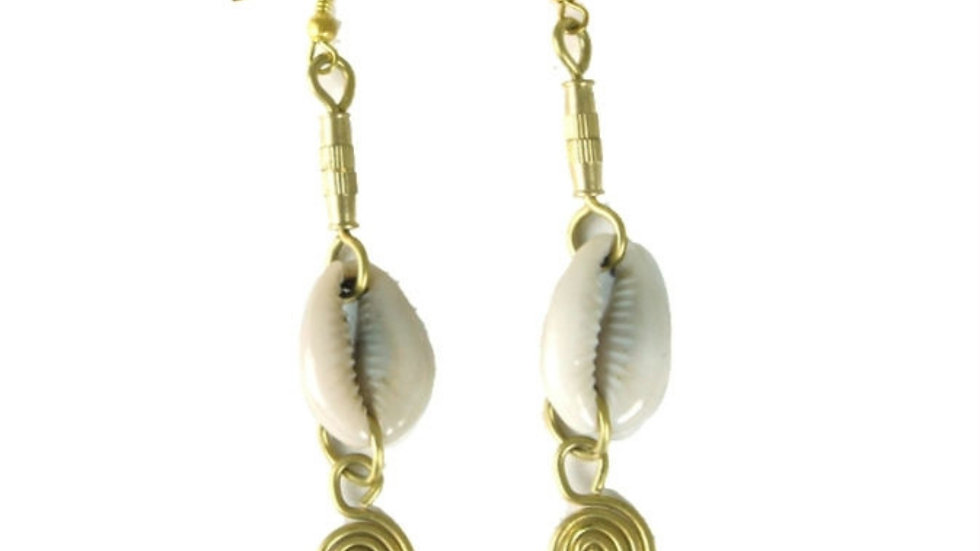 Cowrie Shell and Brass for your Sass Earrings