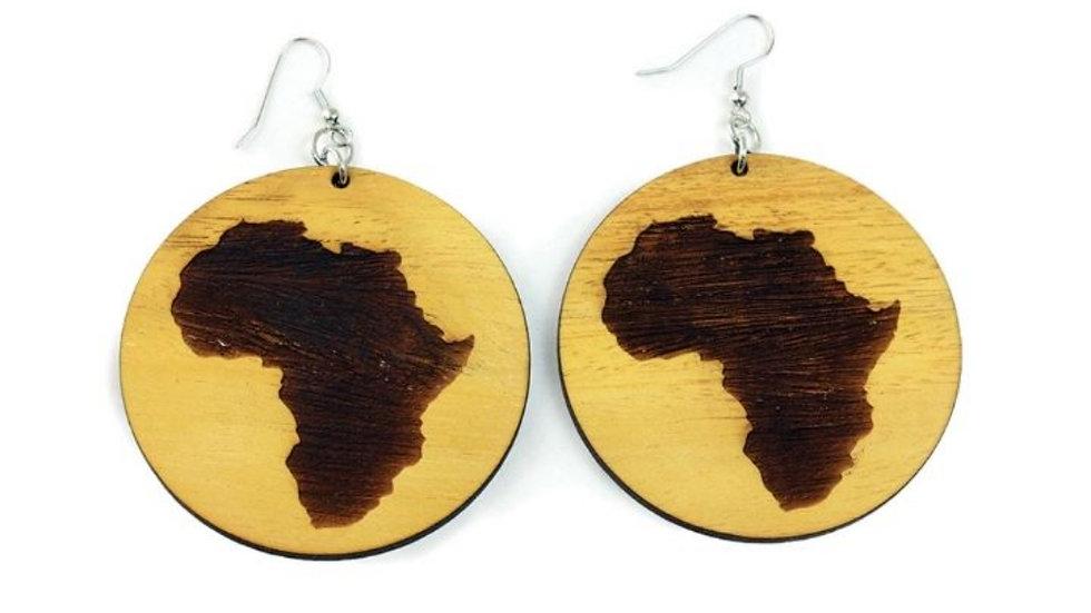 Wooden Africa Map Earrings