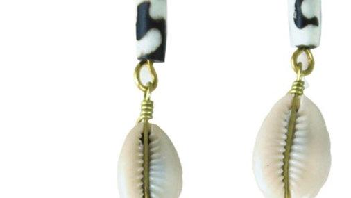Bone & Cowrie Brass Earrings