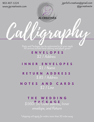 JG Creatives Calligraphy Rates