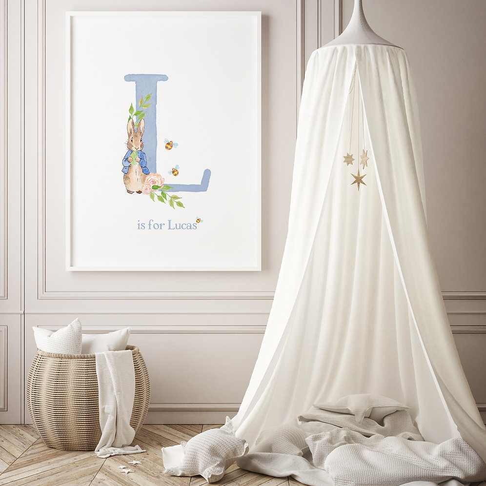 Peter Rabbit Name Print Nursery Decor Custom Options Available