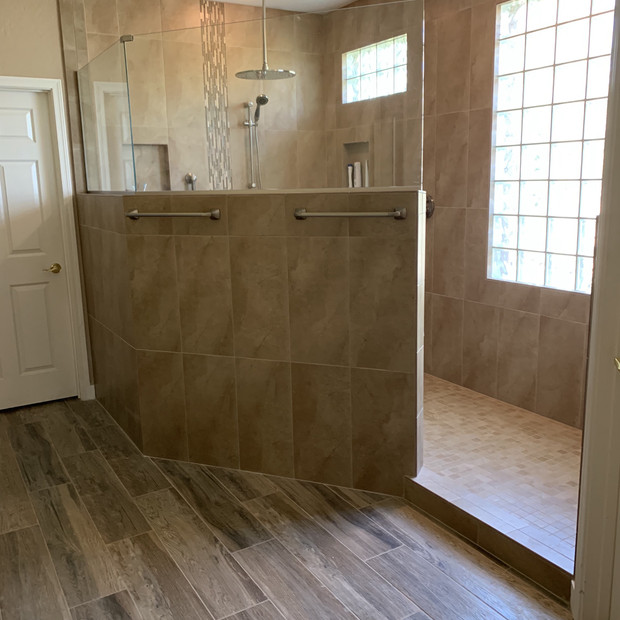 Custom built walk in shower