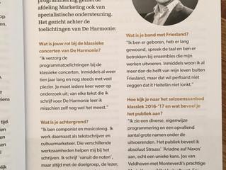 Interview in Classical Brochure 'De Harmonie'