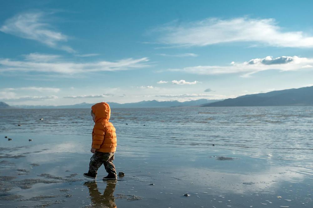 My kid on the beach