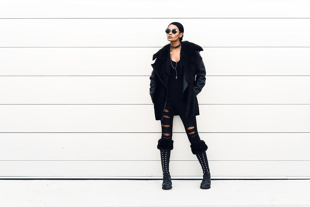 High Contrast Fashion Photo on Striped Wall