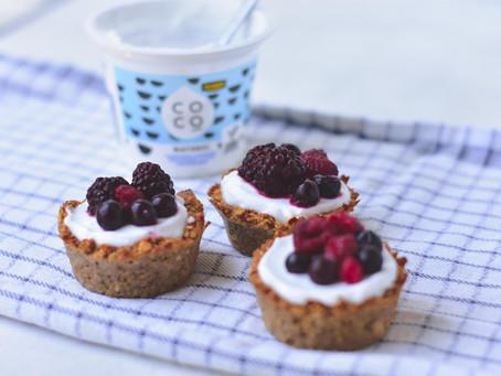 Cupcakes met kokosyoghurt & fruit   Glutenvrij & Lactosevrij ontbijten