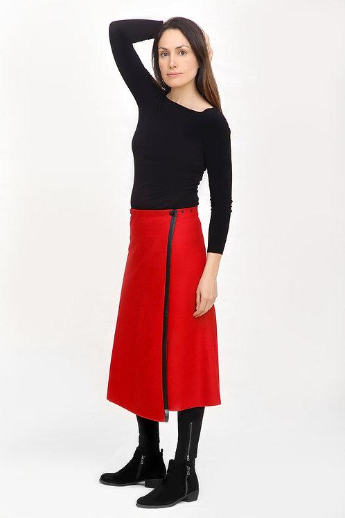 La jupe TUKUAN mi-mollet taille unique rouge
