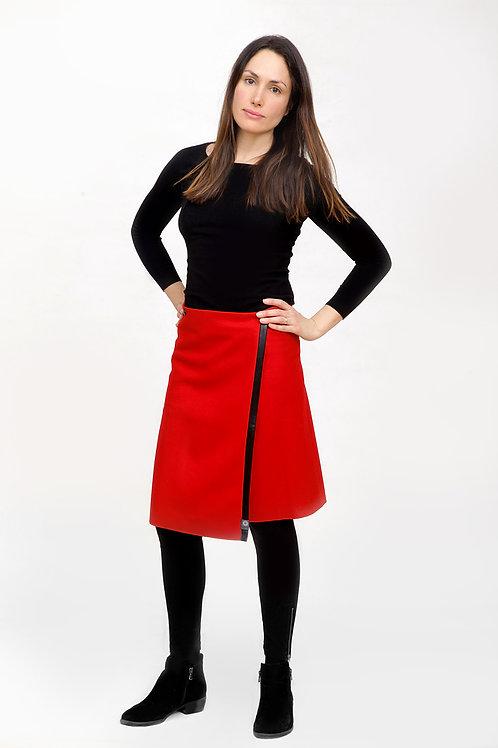 La jupe TUKUAN aux genoux taille unique rouge