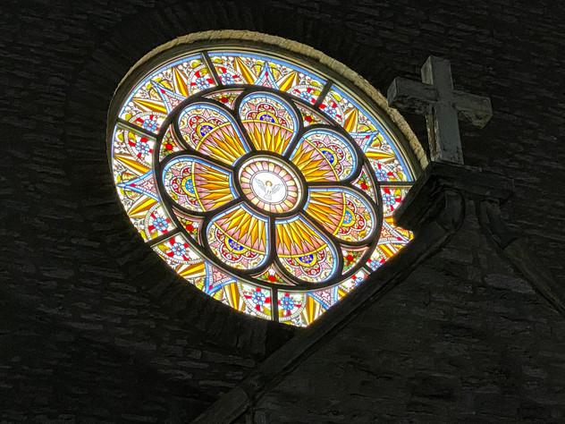Backlit Rose Window Holy Cross Immaculata Church Cincinnati