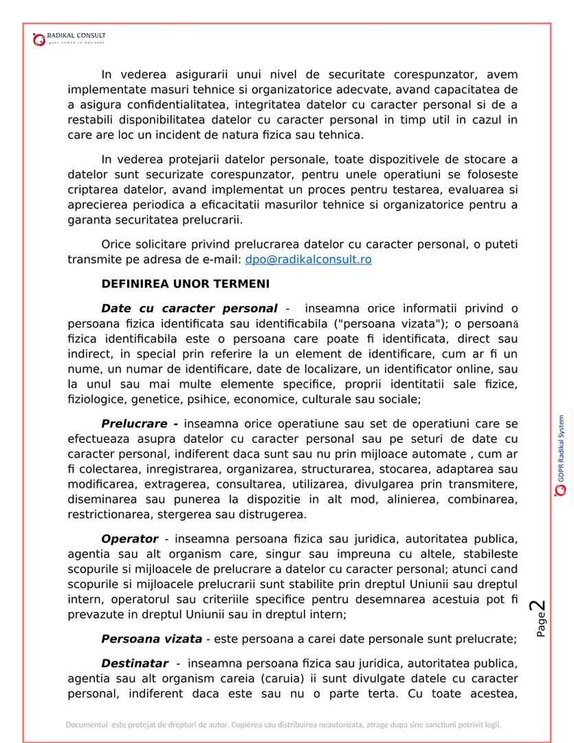 ANSAMBLURI REZIDENTIALE BUCURESTI - GDPR 2