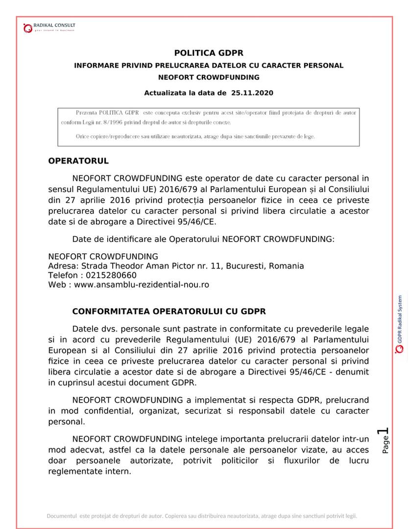 ANSAMBLURI REZIDENTIALE BUCURESTI - GDPR 1