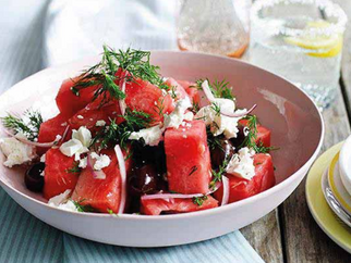 Watermelon, Mint, Feta & Black Olive Salad