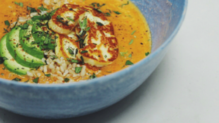 Spicy Tomato & Coconut Soup with Halloumi