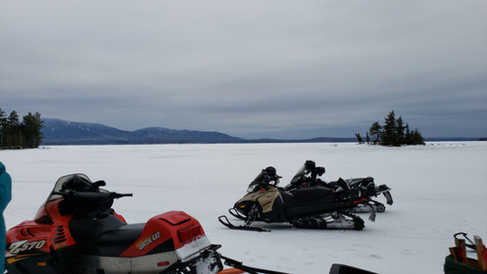 Snowmobiling on the lake