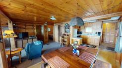 Lakefront Cabin Living/Kitchen